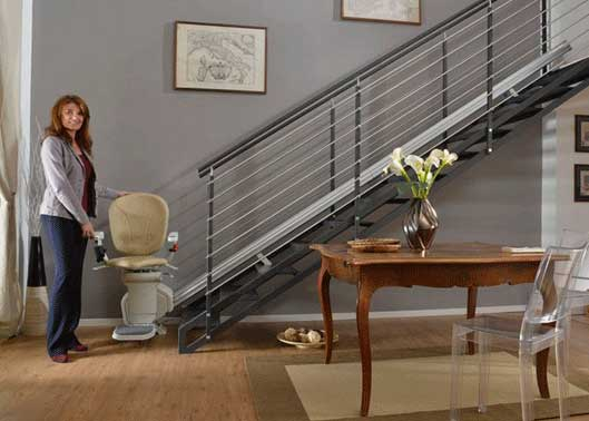 A straight stairlift fitted to a modern staircase